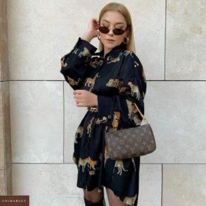 Заказать женскую свободную рубашку-платье с оригинальным принтом (размер 42-52) онлайн черного цвета