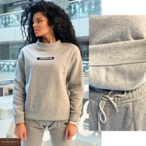 Купить серый женский свитшот Adidas на флисе дешево