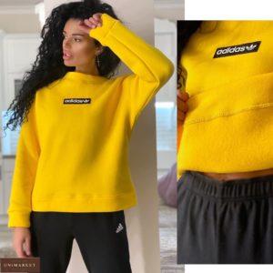 Купить желтый онлайн свитшот Adidas на флисе для женщин