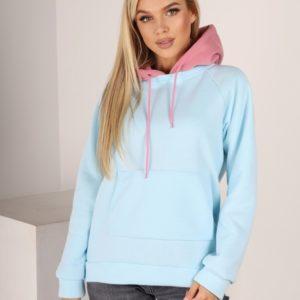 Приобрести голубого/розового цвета двухцветное худи из трехнитки с карманом кенгуру (размер 42-52) для женщин онлайн