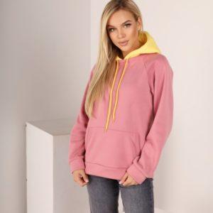 Заказать выгодно женское двухцветное худи из трехнитки с карманом кенгуру (размер 42-52) розовый/желтый