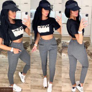 Заказать женские спортивные штаны серого цвета из трехнитки с карманами (размер 42-48) недорого