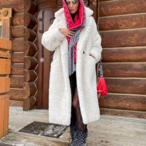 Заказать белого цвета теплую эко шубку в стиле тедди онлайн для женщин