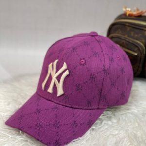 Купить сиреневую женскую и мужскую бейсболку New york с принтом недорого