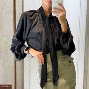 Купить черного цвета женскую блузку из шелка онлайн с бантом
