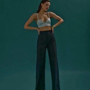 Купить черные женские широкие брюки на высокой посадке выгодно