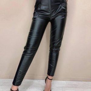 Приобрести по низким ценам женские брюки из эко кожи с карманами (размер 42-48) черные
