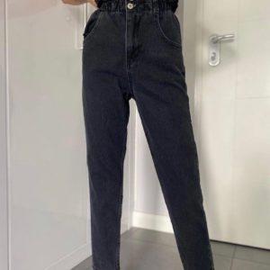 Заказать черные женские джинсы с высокой талией на резинке недорого