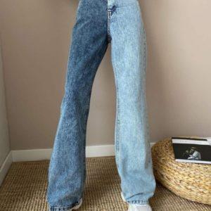 Заказать синие женские двухцветные джинсы клеш выгодно