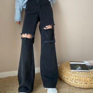 Заказать женские черные широкие джинсы с разрезами в интернете