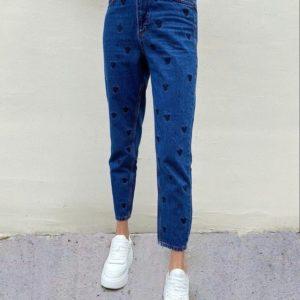 Заказать женские синие джинсы Микки Маус с высокой талией по скидке