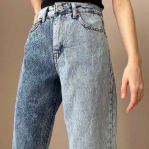 Приобрести по скидке женские двухцветные джинсы клеш синего цвета