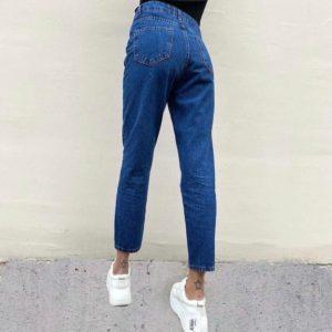 Купить недорого джинсы Микки Маус синего цвета с высокой талией для женщин
