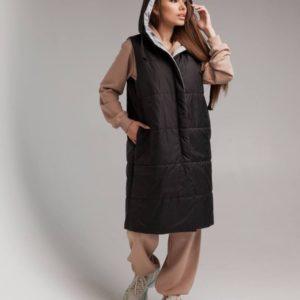 Заказать черную/серую женскую длинную двухстороннюю жилетку с капюшоном (размер 42-52) недорого