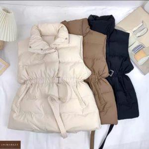 Заказать онлайн жилетку с резинкой-поясом для женщин на талии беж, мокко, черную