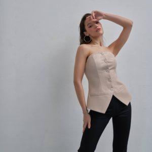 Купить бежевый женский корсет с подкладкой из эко кожи на пуговицах по низким ценам