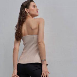 Приобрести беж для женщин корсет с подкладкой из эко кожи на пуговицах онлайн