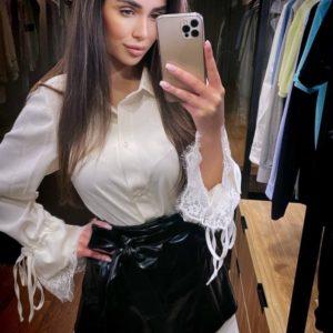 Заказать женский черно-белый костюм: платье рубашка+юбка из эко кожи по низким ценам