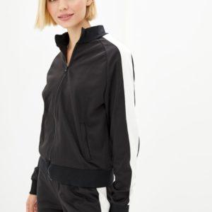 Купить по скидке спортивный костюм с олимпийкой на змейке (размер 42-56) черного цвета для женщин