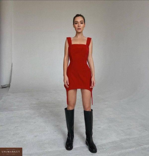 Заказать по скидке красного цвета комплект: платье с лямками + белая рубашка для женщин