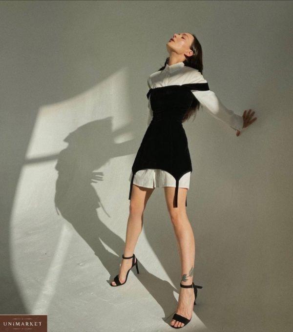 Приобрести черного цвета женский комплект: платье с лямками + белая рубашка в интернете