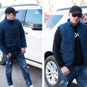 Приобрести на распродаже мужскую куртку-жилет трансформер (размер 48-54) синего цвета