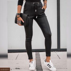 Заказать женские черные лосины из эко кожи на резинке недорого