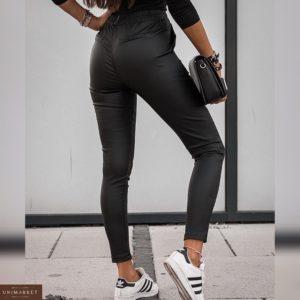 Купить по скидке черные лосины для женщин из эко кожи на резинке