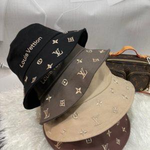 Заказать женскую серую, беж, пудра, черную панаму с надписью Louis Vuitton недорого