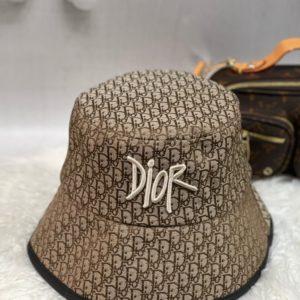 Приобрести коричневую женскую панаму с принтом Dior в интернете