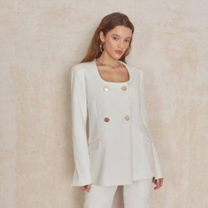 Купить выгодно женский пиджак на подкладке с круглым вырезом молочного цвета