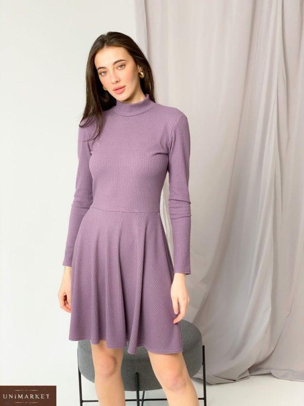 """Заказать онлайн сиреневое платье-гольф из трикотажа рубчик """"мустанг"""" для женщин"""