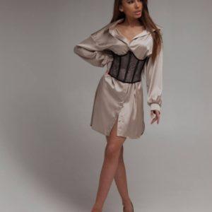 Приобрести бежевое женское платье-рубашка с объёмными рукавами (размер 40-48) в Украине