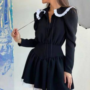 Купить женское нежное платье с воротником и кружевом черное недорого