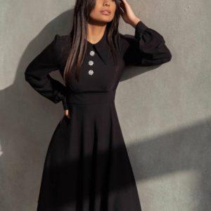 Заказать в интернете черное платье с воротником А-силуэта для женщин
