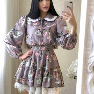 Заказать серое принтованное платье с воротником для женщин и кружевом по скидке