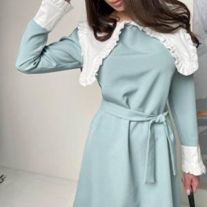 Заказать женское голубое платье с длинным воротником с поясом по скидке
