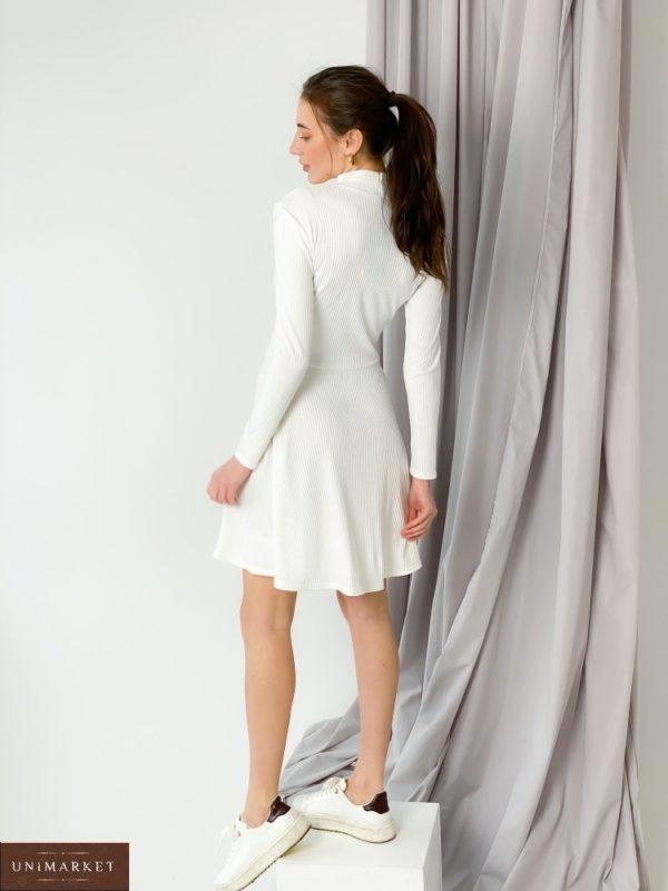 """Заказать молочное платье-гольф из трикотажа рубчик """"мустанг"""" для женщин недорого"""