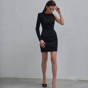 Заказать черное женское платье мини с одним рукавом на распродаже
