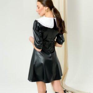 Приобрести по скидке женское черное платье мини из эко кожи