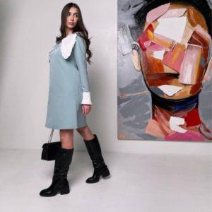 Приобрести выгодно женское платье с длинным воротником с поясом голубого цвета