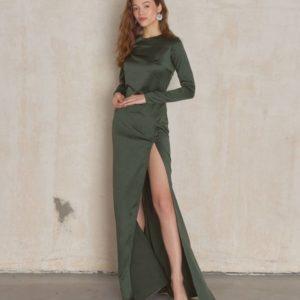 Приобрести недорого цвета хаки платье в пол с разрезом женское