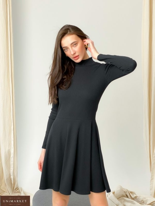 """Купить недорого черного цвета платье-гольф из трикотажа рубчик """"мустанг"""" женское"""