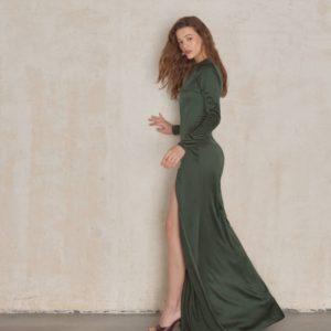 Купить женское платье в пол с разрезом цвета хаки в Украине