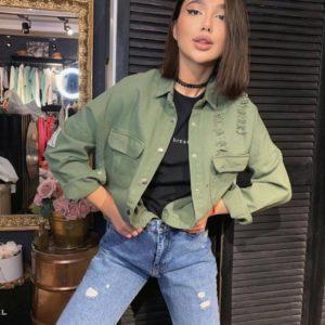 Купить цвета хаки джинсовую рубашку со спущенной линией плеча для женщин в Украине
