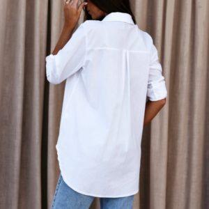 Заказать женскую белую рубашку с отложным воротником с лацканами (размер 42-48) по скидке