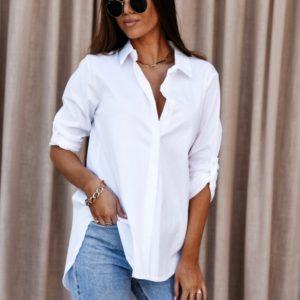 Заказать недорого рубашку женскую с отложным воротником с лацканами (размер 42-48) белого цвета