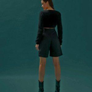 Приобрести недорого женские черные шорты бермуды на высокой талии