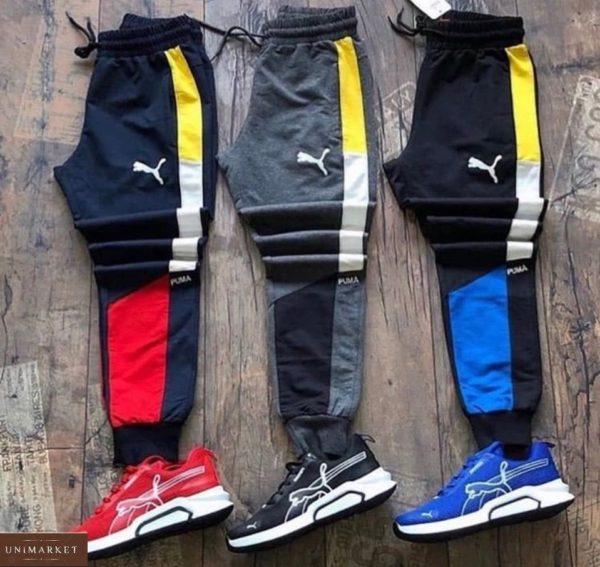 Заказать красные, серые, синие мужские спортивные штаны с комбинацией цветов (размер 46-52) в Украине