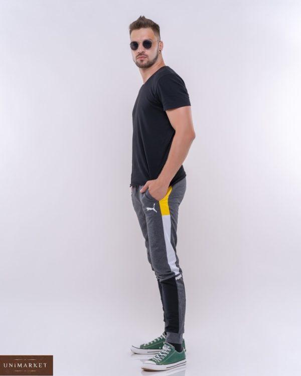 Купить серого цвета мужские спортивные штаны с комбинацией цветов (размер 46-52) выгодно